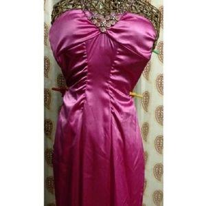 Enfocus slim fit satin, jewel embelished dress